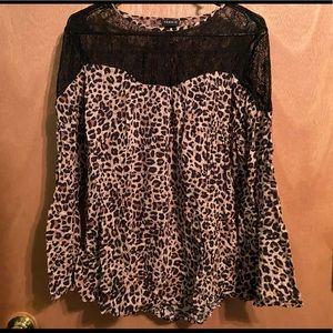 Cheetah print lace blouse